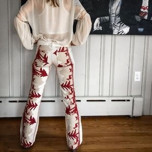 Alice + Olivia Embroidered Mountain Flare Pants